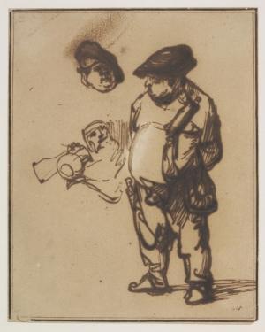 Estudio del Actor Willem Ruyter como campesino, sobre 1634-8 Pluma y tinta ferrogálica con blanco opaco sobre papel Imagen © Victoria and Albert Museum