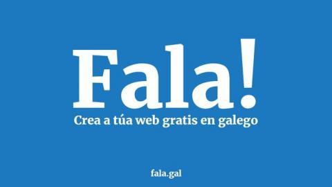 """Logo do proxecto """"Fala!"""" e enderezo web no que crear a túa páxina"""