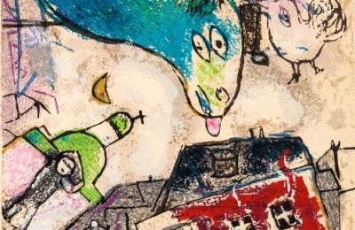 Marc Chagall / Poemas_ Grabado 3, 1968 / Xilografía y Collage / © VEGAP, A Coruña, 2020. - Chagall ®