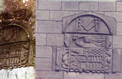 Escudo do pazo de Barallobre na antiga e na nova colocación